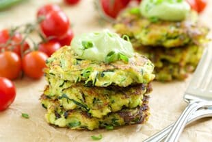 Zucchini fritters with avocado cream