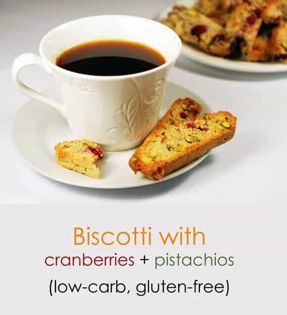 Low carb biscotti with cranberries and pistachios