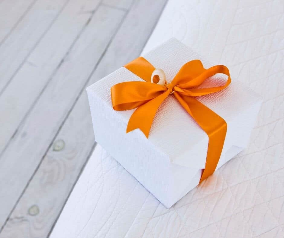 Gift with orange bow