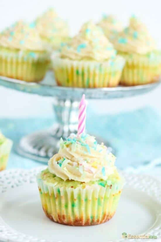 Low Carb Funfetti Birthday Cupcake