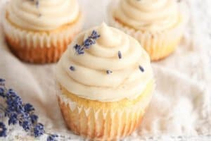 The Best Low Carb Vanilla Cupcake Recipe with Lavender