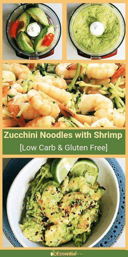 Rich and zesty low carb zucchini noodles with avocado shrimp pesto that you can make in less than 20 minutes. It is perfect for quick lunch or a midweek dinner...