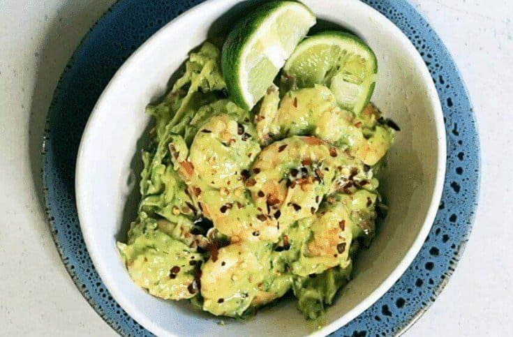 Zucchini Noodles with Avocado Shrimp Pesto