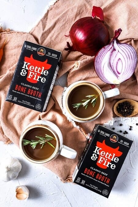 Kettle & Fire beef broth in cups