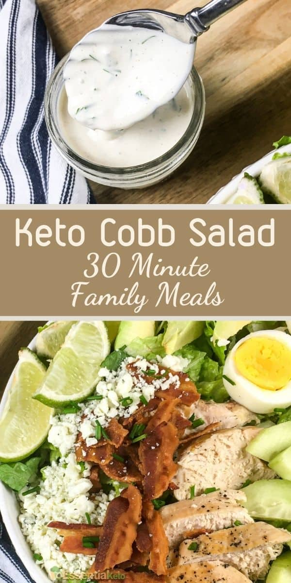 Easy Keto Cobb Salad with Ranch Dressing [30 Minute Keto Family Meals]
