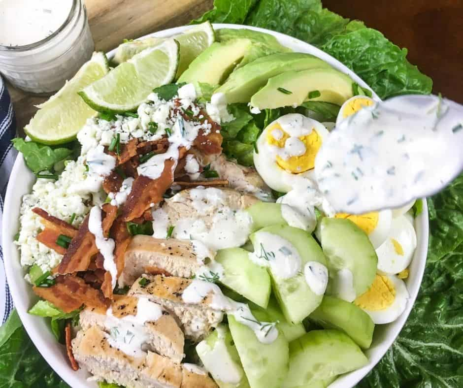 Low Carb Cobb Salad with a Ranch-Style Dressing (no tomato)